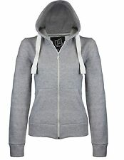 NEW WOMENS PLAIN ZIP HOODIE LADIES SWEATSHIRT FLEECE HOODED JACKET TOP SIZE S-XL