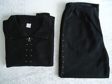 LADIES BLACK DIAMANTE DETAIL MICROFLEECE LEISURE SUIT SHORT BNWOT RRP £65.00