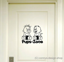 Pups Zone Türaufkleber Wandtatoo 20x21cm Pupszone P1 - WC Bad Toiletten