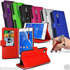 Sony Xperia Z3 PU Leather Book Wallet Stand Case Skin Cover+SP+Pen