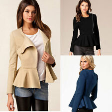 Women Ruffle Hem Peplum Slim Coat Lady Long Sleeve Zipper Thin Short Outerwear