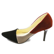 STYLISH PARTY Formal DRESS Women LADIES SHOES CLOSE TOE, CONTRAST, KITTEN HEELS.