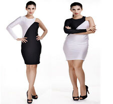 Sexy black and white fashion colour matching strapless one-sleeve dress