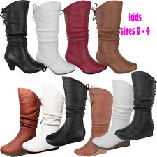 Youth Girl's Kids Flat & Wedge Heel Mid Calf Boot Round Toe Lace Zipper Size 9-4