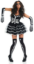 NEW Skeleton Tutu Costume Ladies Halloween Fancy Dress Outfit All Sizes S M L XL