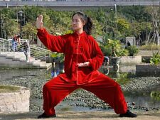 Chen's Spring Autumn Thick Kung Fu Tai Chi Gold velvet uniform Clothes Suit Red
