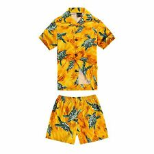 Boy Toddler Aloha Shirt Set Shorts Beach Hawaii Cruise Luau Cotton Yellow Turtle