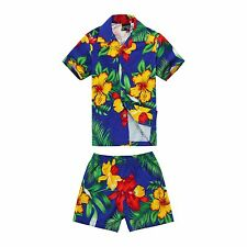 Boy Toddler Aloha Shirt Set Shorts Beach Hawaiian Cruise Luau Cotton Blue Yellow