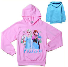 Cartoon Disney Frozen Elsa Anna Top Kids Girls Sweatshirt Hoodies Coat Jacket CA