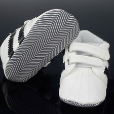 New Baby Boys Soft Sole Crib Shoes Leather Velcro Sneaker Shoes 0-18 Months H