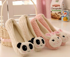 So Kawaii Cute White Panda&Pink Rabbit Flat Shoes Autumn/Winter Slippers Loafers