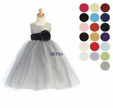 Infant & Toddler Girls Formal Silver Tulle Dress U Choose Sash Flower Girl