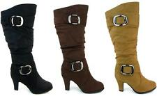 Women's Knee High Suede Boots Shoes High Heel Zipper Buckles Black Brown Tan