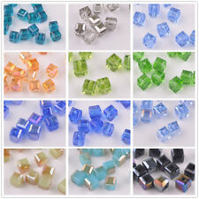 50pcs 6mm Cube Square Faceted Crystal Glass Charms Loose Spacer Beads Wholesale