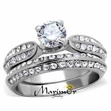 STAINLESS STEEL 1.75 CT ROUND CUBIC ZIRCONIA  316L WEDDING RING BAND SET SZ 5-10