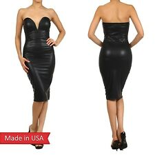 Black Faux Leather Sexy Strapless Sweetheart Neckline w/ Wire Bodycon Dress USA