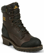 """Chippewa Men's 8"""" Chocolate Oiled Waterproof Logger Boots Leather 55050 (EE+)"""