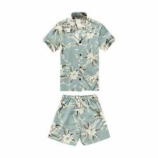 Boy Toddler Aloha Shirt Set Shorts Beach Hawaiian Cruise Luau Waterlily Sky Blue