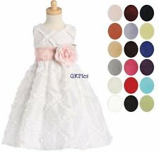 Lito Infant Toddler Girls White Taffeta Ribboned Dress Flower Girl Christening