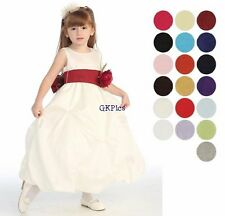 Infant Toddler Girls Ivory Gathered Full Length Formal Flower Girl Dress