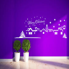 Christmas Scene Wall Sticker Bedroom merry xmas snow santa vinyl Decal Mural
