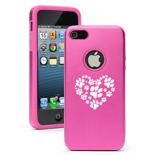 For Apple iPhone 6 6s Plus Aluminum Silicone Hard Case Cover Heart Paw Prints