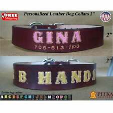 Dog Name Collar - XXL Collars for Pitbulls - Mahogany Leather Dog Collar - USA