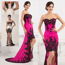 Sexy Lace High-Low Ball Gown Masquerade Wedding Bridesmaid Evening Prom Dress