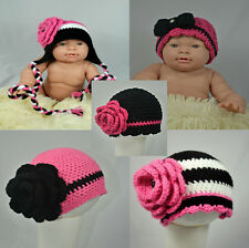 Baby,toddler,kids crochet flower hat beanie,white pink,black color.0-5 years.
