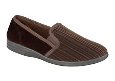 Four Seasons Mens Slippers Gents Slip On Shoes Brown Sizes 6 - 12  Cord DAVID