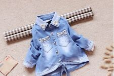 Boutique Designer Jeans Shirt Girls Jacket Chasing Lace Pearls Gift Easter