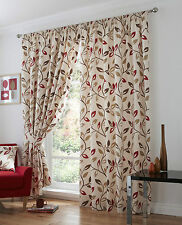 Red Cream Brown Floral Leaf Tape Top Pencil Pleat Lined Ready Made Curtains