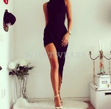 Fashion Womens Sexy Pure Colour High Waist Sleeveless Party Evening Dress GBW