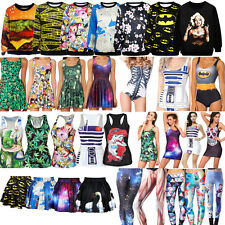 2014 HOT! Women's Digital Graphic Print Monokini Dress Tank Top Leggings Hoodies