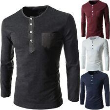 █ █ MENS COTTON CASUAL Autumn Long Sleeve Henley Shirts Slim Fit T Shirt Top Tee