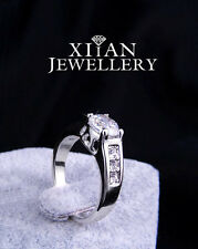 1.75CT Wedding Anniversary 18K White GP Crystal Solitaire with Accents Ring 329