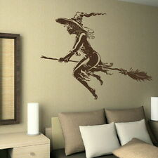 Witch Wall Stickers! Halloween Art Decor Broom Graphic / Broomstick Decal RA138
