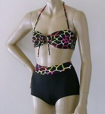 Wired Print Retro Bandeau and High Waisted Banded Boy Short Bikini S.M.L.XL