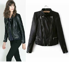 Women's Shoulder Pads 100% Sheepskin Leather Biker Dual zipper Jacket Coat