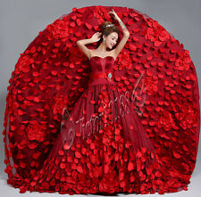 New Burgundy Quinceanera Party Pageant Ball Gown Cathedral Train Wedding Dresses