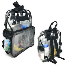 CLEAR TRANSPARENT SCHOOL SECURITY BACKPACK SHOULDER TRAVEL BOOK BAG 3 POCKETS