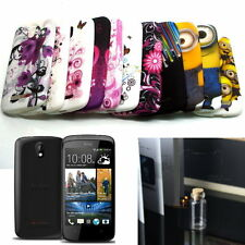 Pictorial Design TPU GEL Case Cover w/LCD Screen Protector for HTC Desire 500