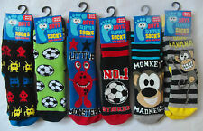 Boy's Various Designs Slipper Socks with Grippers - Football, Monkey, Robots,