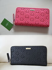 NWT Kate Spade Leather Cedar Street Perforated Lacey Wallet Purse Black / Coral