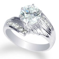 Ladies Rhodium White Gold Plated Clear Round CZ Solitaire Ring Size 4-10