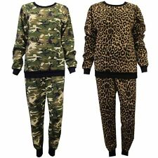 Women Ladies Celeb Inspired Leopard Army Camouflage Print Tracksuit Jogging Suit