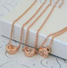 Rose Gold Heart Initial Monogram Layering Charm Necklace