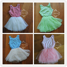 Baby Girls Summer Striped Tulle Dress Tutu Party Gift Xmas Christmas Red Pink