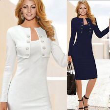 Occident Womens Slim Fit Casual Office Wear to Work Long Sleeve Pencil Dress~2XL