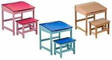 Children's Study Desk And Stool Set With Storage 3 Colours Natural, Blue, Pink